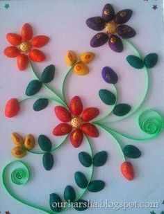 ::My Hobbies::: Colorful Pista Shell Flowers Diy Crafts Hacks, Diy Home Crafts, Diy Arts And Crafts, Creative Crafts, Crafts To Make, Crafts For Kids, Pista Shell Crafts, Plastic Spoon Crafts, Pistachio Shells