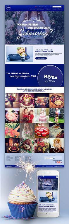 Interaktive Landingpage mit personalisiertem Geburtstags-Video und automatisiertem Newsletter für NIVEA. Nivea, Birthday, Gift Cards, Birthdays, Dirt Bike Birthday, Birth Day