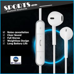 Bluetooth Earbuds Headphones With Mic From BT Waves - Best Apple Style Noise in for sale online Best Noise Cancelling Headphones, Music Headphones, Bluetooth Headphones, Rear View Mirror Camera, Electronic Items, Headphone With Mic, Wireless Headset, Technology Gadgets, Sport Style