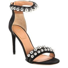 Givenchy Classic Embellished Sandals (62.760 RUB) ❤ liked on Polyvore featuring shoes, sandals, givenchy sandals, ankle strap shoes, strappy leather sandals, strappy shoes and strap sandals