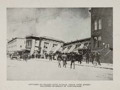 San Francisco (1906) Cottages on Golden Gate Avenue, above Hyde Street, collapsed as a result of the earthquake