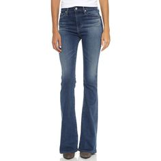 AG The Janis Flare Jeans ($240) ❤ liked on Polyvore featuring jeans, stretch denim jeans, flare jeans, flared jeans, 5 pocket jeans and blue jeans