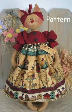 PDF E-Pattern 12 Folk Cat Primitive Raggedy Kitty Cloth Doll