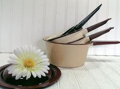 Brown on Tan EnamelWare Set of 4 Pots  Vintage Collection of