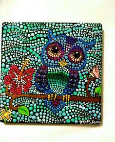 Owl Painting / Ceramic Tile / Colorful Dot Art / Original signed by Miranda Pitrone / Painting Stone / Vibrant Art by P4MirandaPitrone on Etsy