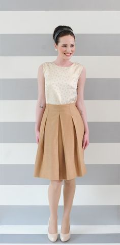 Lovely wool skirt and silk top for fall.