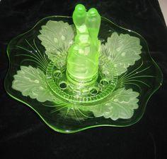 Glass Floats, Vaseline Glass, Art Deco Glass, Flower Frog, Fenton Glass, Green Accents, Ship Art, Vintage Glassware, Glass Collection