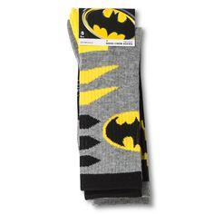 Men's Batman 2Pk Sport Crew Socks - Black / Yellow One Size