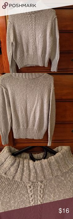 Liz Claiborne drop shoulder turtleneck sweater This sweater is like new condition. It's a medium to heavyweight sweater and is light grey in color. The bumps are not pilling. It's the texture of the garment. Worn only a few times. In fact, it's not been washed. I always wear a tee under my sweaters and try not to wash them to death. Size large. Will fit 10/12. If you want it, I will be happy to wash it or you can and in my way of thinking the less it's washed the longer it lasts. Liz…
