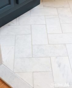 Looking for an affordable way to install herringbone marble tile flooring? Get the most bang for your buck and make your marble dreams come true. floors Large Herringbone Marble Tile Floor - How To DIY It For Less - Shine DIY & Design bathroom floor Entryway Tile Floor, Entry Tile, Marble Bathroom Floor, Bathroom Flooring, Tile Floor Kitchen, Best Kitchen Flooring, Dyi Bathroom, Marble Bathrooms, Bathroom Countertops
