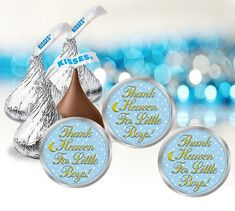 Thank Heaven For Little Boys Baby Shower Stickers, Hershey Kiss Sticker Labels Shower Games, Shower Party, Baby Shower Parties, Unicorn Birthday Parties, Birthday Party Favors, Boy Baby Shower Themes, Baby Boy Shower, Cute Themes, Hershey Kisses