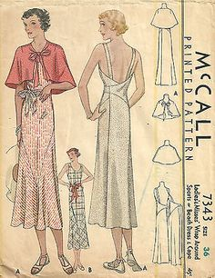Vintage 1930s Sewing Pattern - McCall7343 Wrap Dress & Cape Size 36 - Thirties in Collectibles | eBay