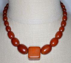 Vintage Art Deco Amber BAKELITE TESTED Bead Beaded Choker Necklace 36 grams #Unbranded #Choker