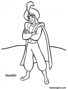 Print out Disney Characters Aladdin coloring page - Printable Coloring Pages For Kids