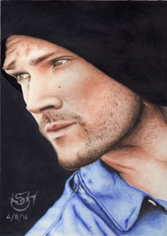 """Drawing actor Jared Padalecki, star of TV Series """"Supernatural""""."""
