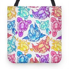 Floral Penis Pattern Rainbow... | Tote Bags, Grocery Bags and Canvas Bags | HUMAN
