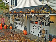 We had some fun trying to decorate the boring garage area for Halloween.