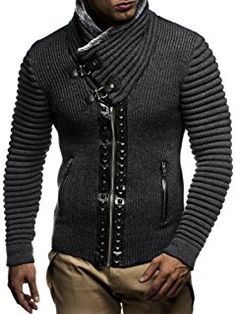 LEIF NELSON Men's Knitted Jacket With Studs LN5165