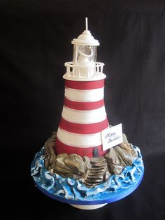 This was for my beloveds birthday! He absolutely adored it and just wouldn't cut into it! The cake was a lemon madeira! Crazy Cakes, Beautiful Cakes, Amazing Cakes, Adult Birthday Cakes, 50th Birthday, Lighthouse Cake, Building Cake, Boat Cake, Nautical Cake