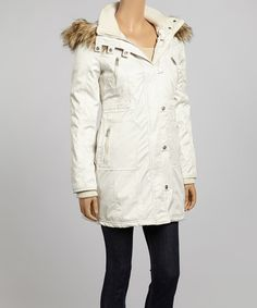 Look what I found on #zulily! Eggshell Faux Fur Hooded Coat - Women by Fleet Street #zulilyfinds