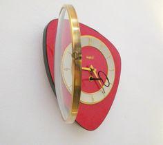 Mid-Century Inspired Red Clock