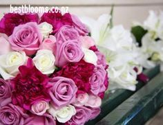 Cerise wedding Bouquets -Wedding flowers in shades of hot pink -Fuschia Pink rose posies. Best Blooms Florists Auckland New Zealand