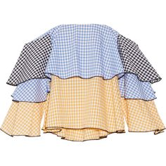 Caroline Constas Carmen off-the-shoulder gingham cotton bustier top (€460) ❤ liked on Polyvore featuring tops, caroline constas, blue, cotton bustier top, colorful bustier tops, blue top, tiered top and blue off the shoulder top
