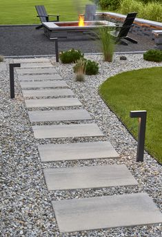Walkways To Front Door This walkway design is inspired by our Blu Grande Smooth patio slab. Backyard Walkway, Backyard Patio Designs, Small Backyard Landscaping, Modern Backyard Design, Paver Walkway, Front Walkway Landscaping, Backyard Retaining Walls, Stone Patio Designs, Concrete Patio Designs
