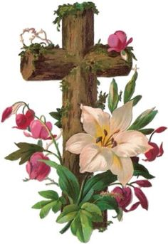 Victorian scrap: Cross with flowers