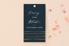 """Rippling Waters"" - Wedding Favor Tags in Midnight by Ana Sharpe."