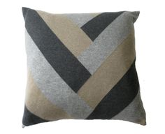 Grey Cashmere V Pillow - Herringbone pattern
