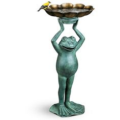 Happy Frog Birdbath (€130) ❤ liked on Polyvore featuring home, outdoors, outdoor decor, outdoor frog decor, outdoor yard decor, bird bowl, bird bath and antique wash bowl