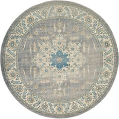 Light Gray 6 X 6 New Vintage Round Rug Area Rugs
