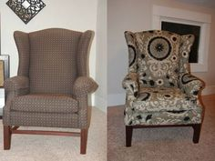 before-after- DIY wingback chair reupholster tutorial! Hoping to do this with our somewhat drab, wingback recliner