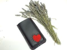Valentines faux leather iphone case Vegan leather by Hermitinas
