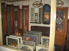 Unused Tiffany windows & doors in the Winchester Mystery House