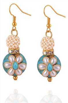 Buy Zephyrr Fashion Hanging Hook Earrings Handmade Turquoise Stones Pearl Beads Online at Low Prices in India   Amazon Jewellery Store - Amazon.in