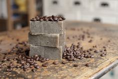 Homemade Soap for Coffee Lovers.  A soap made with double-strength coffee & a real coffee ground exfoliant! Follow this easy recipe & gift your favorite coffee lover!