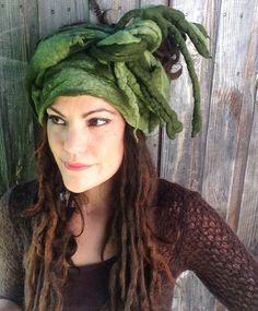 The 'Athenas Grove' Felted Dread Wrap, Gypsy Headscarf, Felted Turban with…