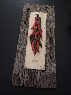 """Chili peppers painted on 3D plaster 13"""" x 6"""""""
