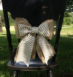 rustic wedding decor  burlap wedding bow by Studio31TenGifts