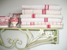 ANTIQUE FRENCH LINEN  kitchen cloths red stripe  ..linen napkins red linen French