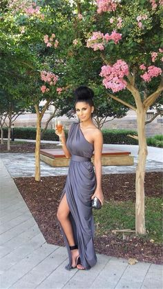 Find More Bridesmaid Dresses Information about 2016 New Shoulder Elegant Folds Bridesmaid Dresses Sexy Split Ends Gray Chiffon Bride Bridesmaid Dress Long Dresses Plus Size ,High Quality dresses bow,China dress advice Suppliers, Cheap dress long sleeve tunic dress from wedding mall 1989 on Aliexpress.com