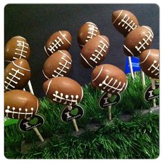 Football Cake Pops Football Cake Pops, Cake Pop Designs, Holiday Cakes, Custom Cakes, Desserts, Food, Personalized Cakes, Tailgate Desserts, Deserts