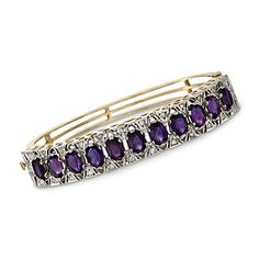 C. 1950 Vintage .75 ct. t.w. Diamond and 9.35 ct. t.w. Amethyst Bangle Bracelet in 14kt Yellow Gold. 6.25""