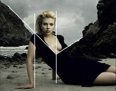 Annie Leibovitz using coincidences to unite the foreground model with the background. mastering-composition-techniquesscarlett-johansson-annie-leibovitz-photoshoot-01-2
