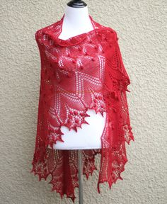 This hand knit shawl is made of 50% merino/50% tencel in a red (Merlot) color.  It's perfect with an elegant dress and also with jeans or shirt and there is a lot of ways t... #kgthreads #handknitted #rusteam #homespunsociety