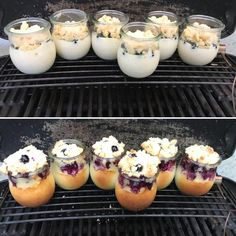 Grilled cheese cakes - The perfect dessert from the grill: delicious blueberry cheese cakes in a glass – from gut-esser. Mini Desserts, Illustration Dessert, Grill Dessert, Blueberry Cheesecake, Bbq Pork, Barbecue, Mini Cheesecakes, Grilled Pork, Pastry Recipes