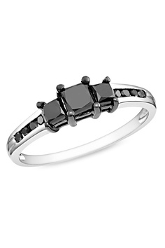 1Ct Black Diamond Engagement Ring In Silver