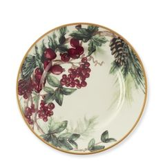 Would love to have these for the holidays. - Botanical Wreath Salad Plates, Set of 4 #williamssonoma